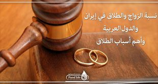 نسبة الزواج والطلاق في إيران والدول العربية وأهم أسباب الطلاق