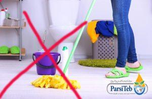 تنظيف البيت خلال الحمل- عدم قيام المرأة الحامل بالكنس والغسل